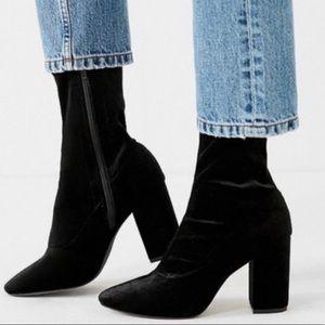 Sam Edelman black velvet sock boots